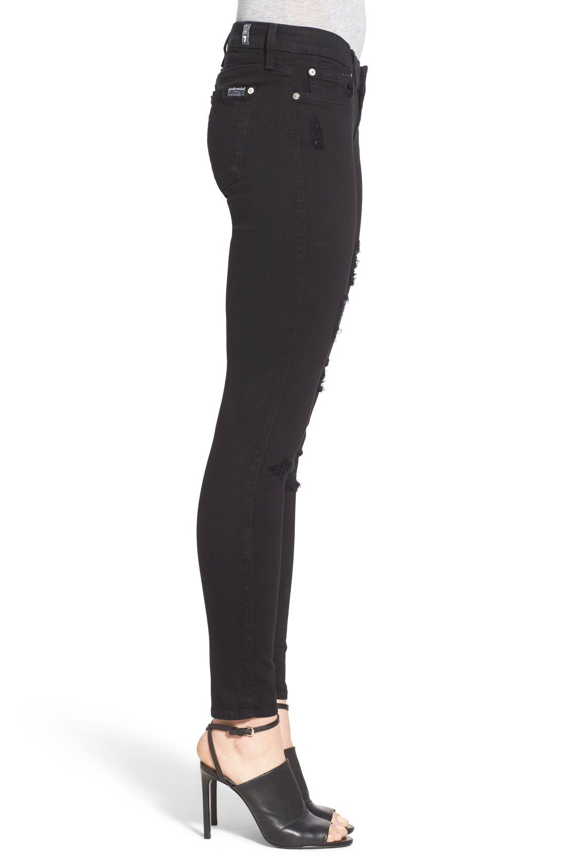Alternate Image 3  - 7 For All Mankind® Destroyed Ankle Skinny Jeans (Slim Illusion Luxe Black)