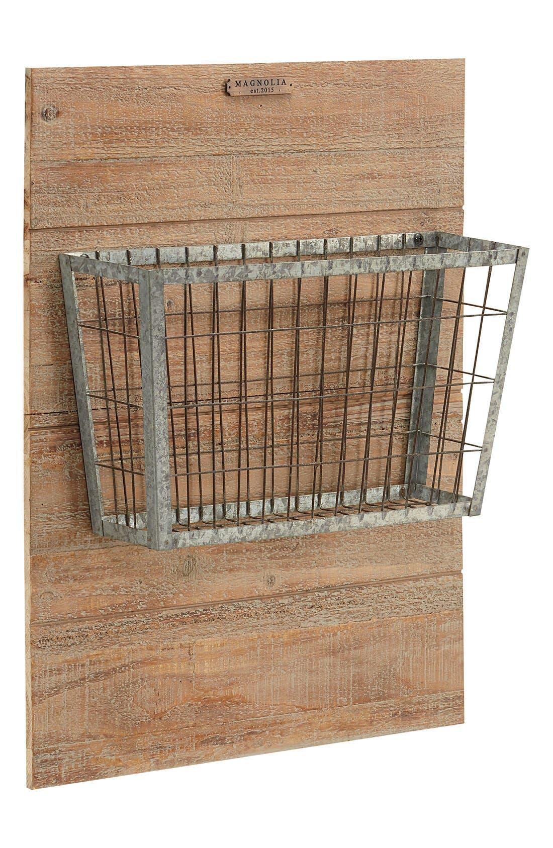 MAGNOLIA HOME Metal Basket on Wood