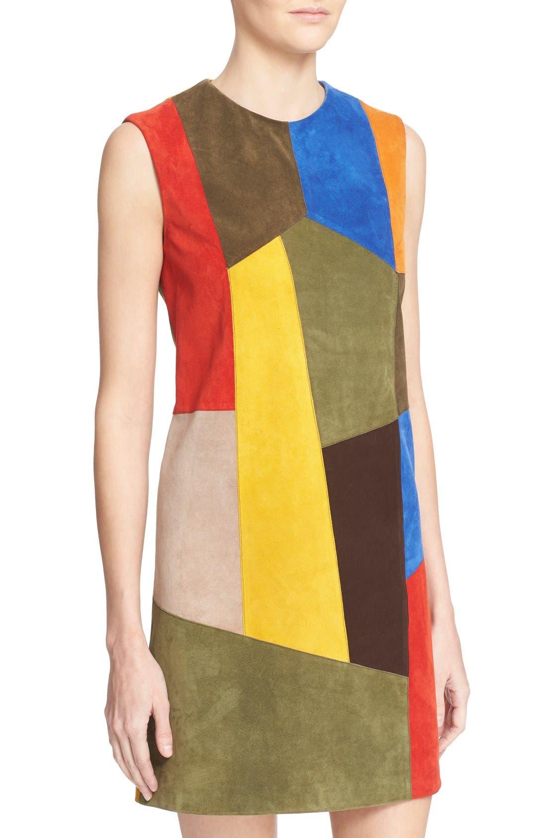 Alternate Image 6  - Victoria Beckham Patchwork Suede Shift Dress