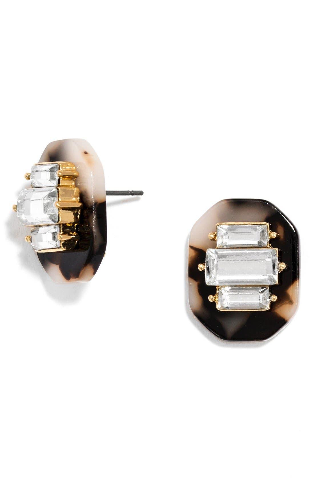 Alternate Image 2  - BaubleBar 'Buchanan' Crystal & Tortoiseshell Earrings (Set of 2)