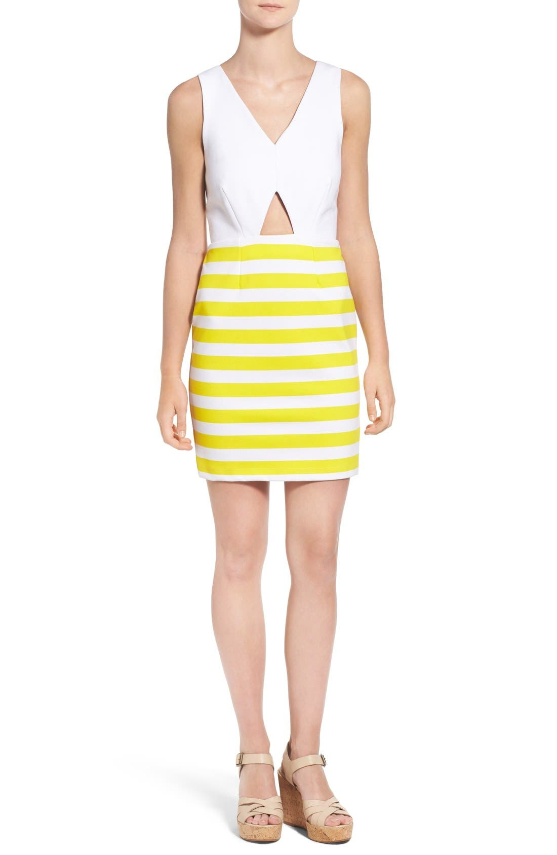 Alternate Image 1 Selected - Amour Vert 'Amber' Stripe Cutout Body-Con Dress