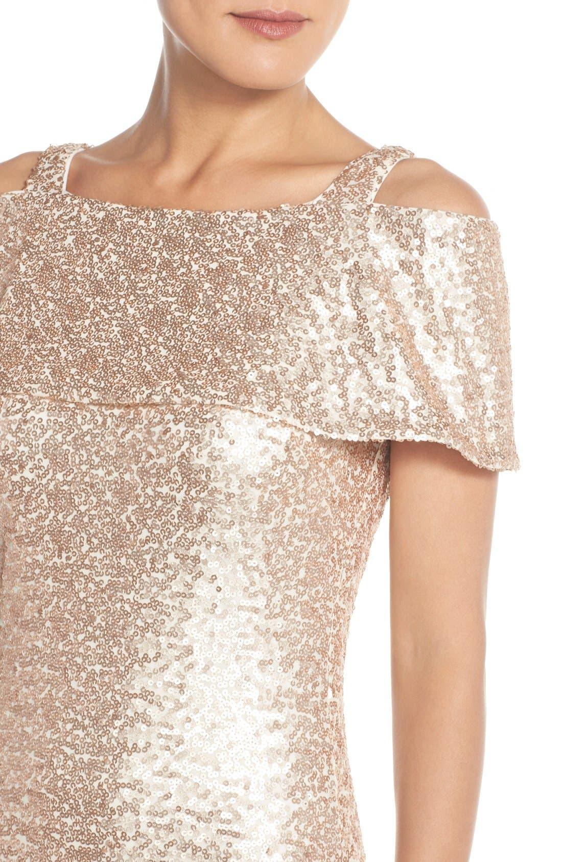 Alternate Image 4  - Badgley Mischka Cold Shoulder Sequin Body-Con Gown
