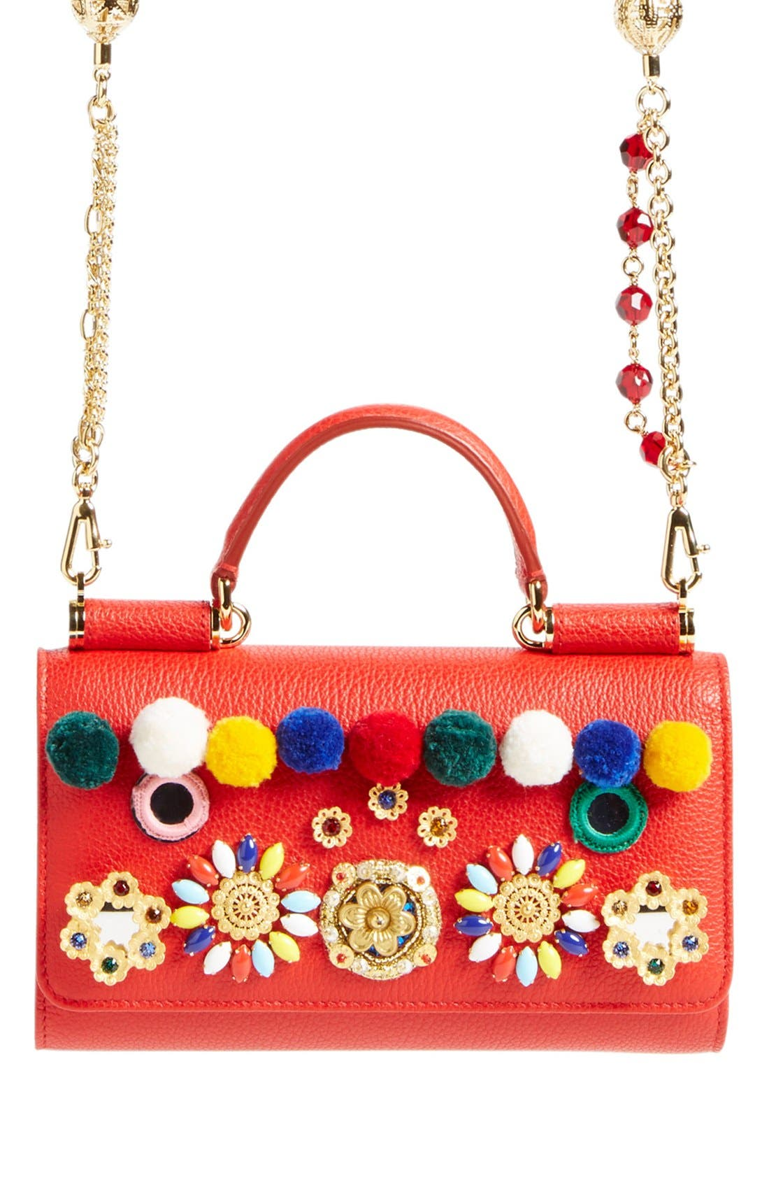 Main Image - Dolce&Gabbana 'Miss Sicily' Floral & Pompom Appliqué Calfskin Leather Wallet on a Chain