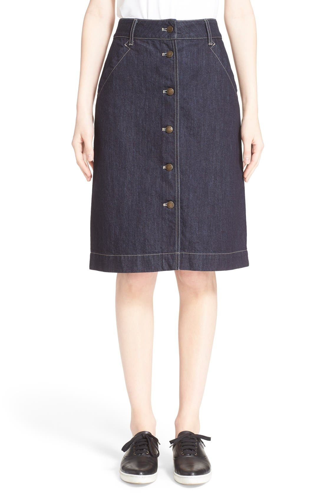 Tomas Maier Button Front Denim Pencil Skirt | Nordstrom
