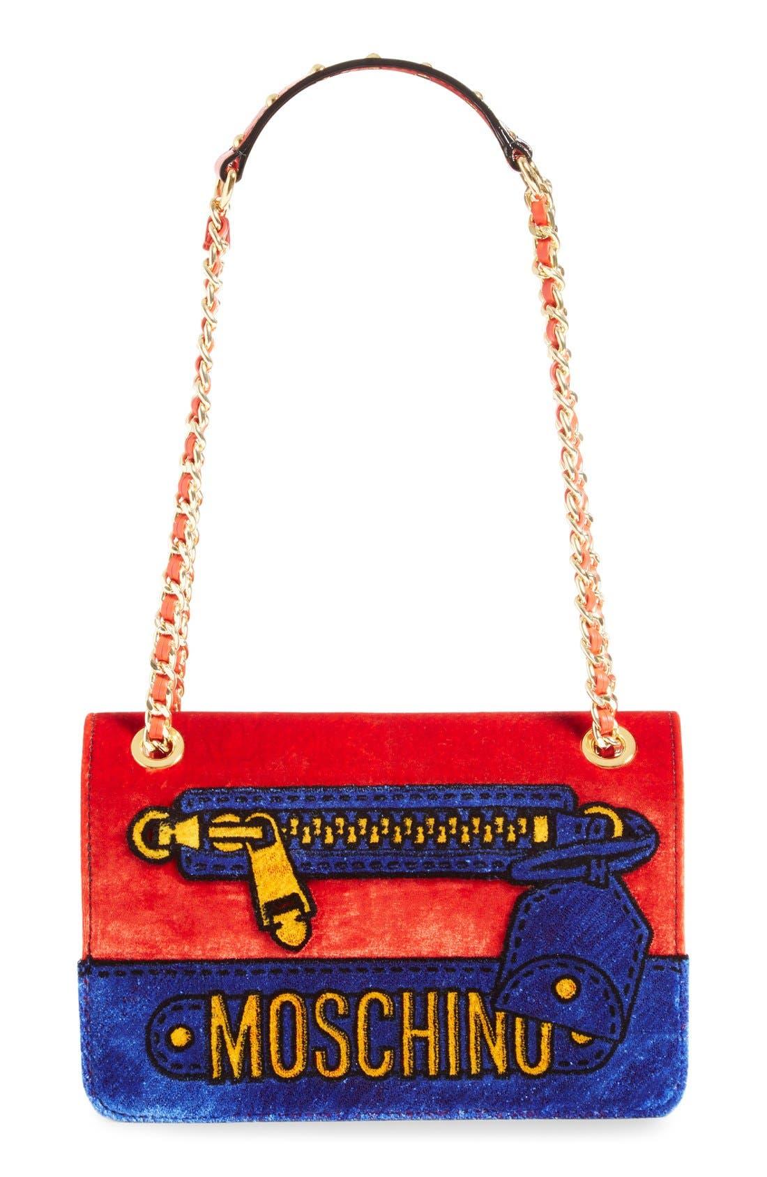 Main Image - Moschino Velvet Convertible Shoulder Bag