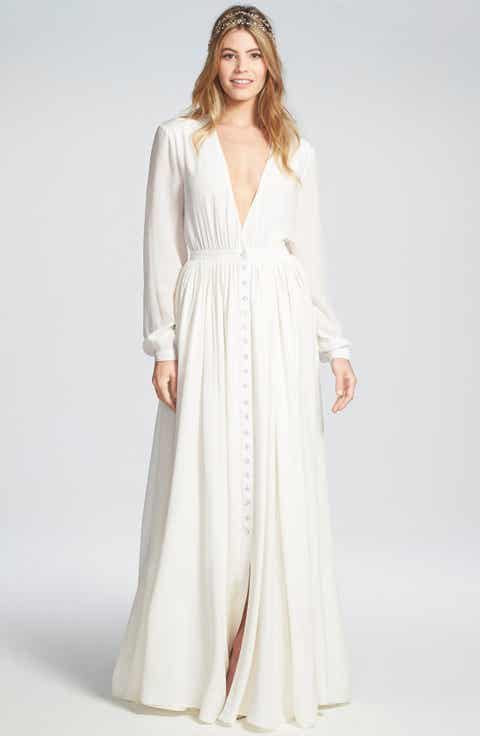 Houghton 'Galina' Plunging V-Neck Silk Dress with Crystal Buttons