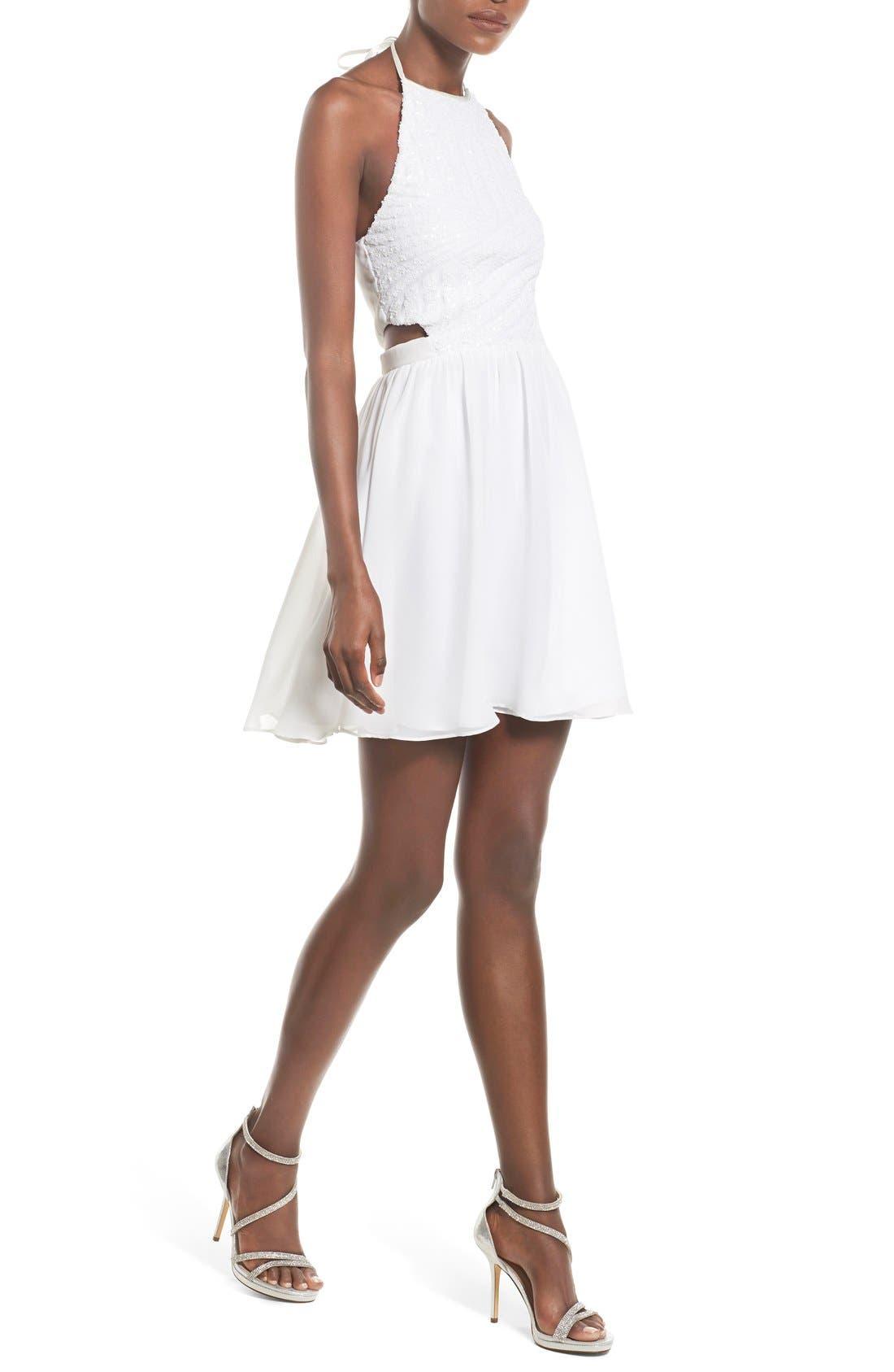 Alternate Image 4  - Steppin Out Embellished Halter Skater Dress