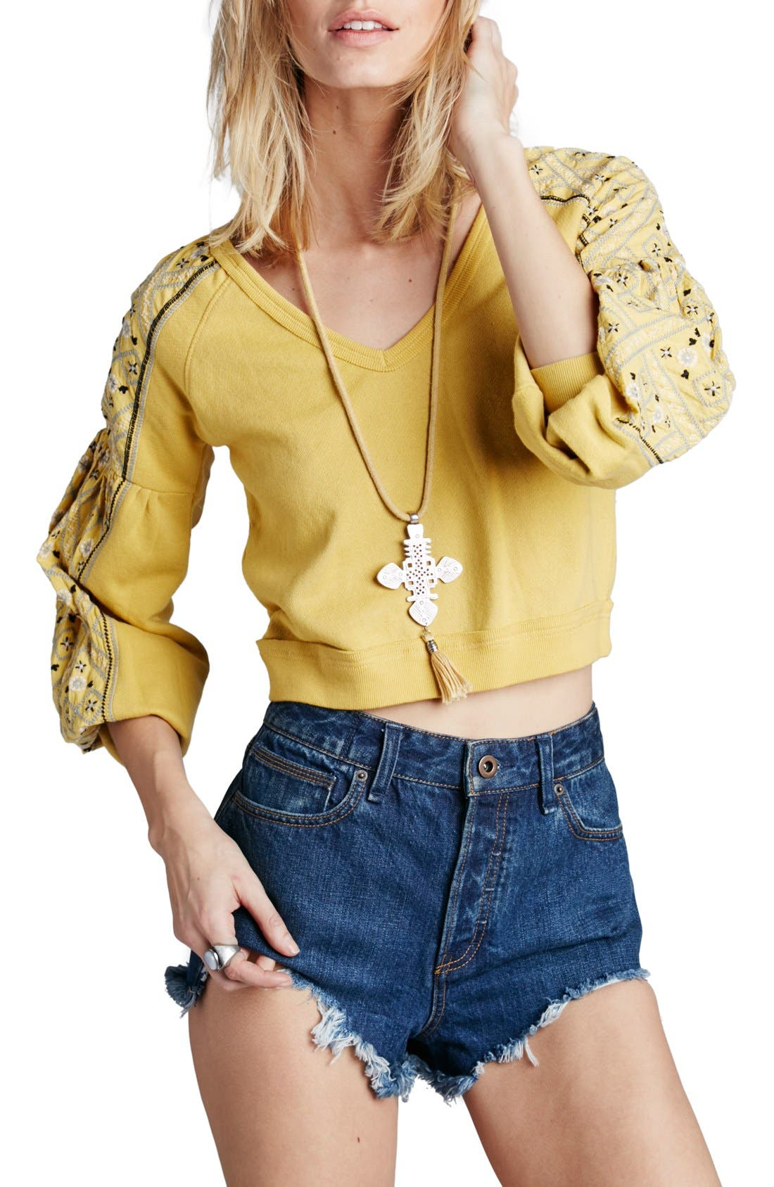 Alternate Image 1 Selected - Free People 'Senorita' Crop Pullover
