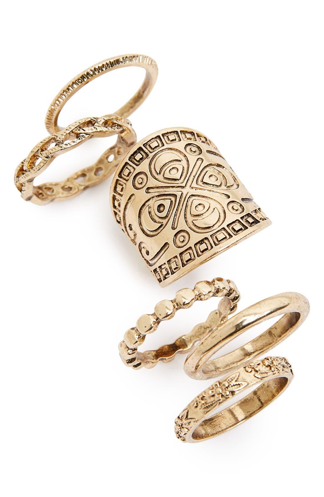Main Image - Topshop Engraved Rings (Set of 6)