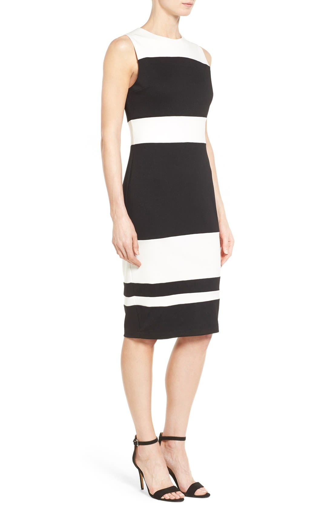Alternate Image 3  - Matty M Colorblock Stripe Ponte Sheath Dress