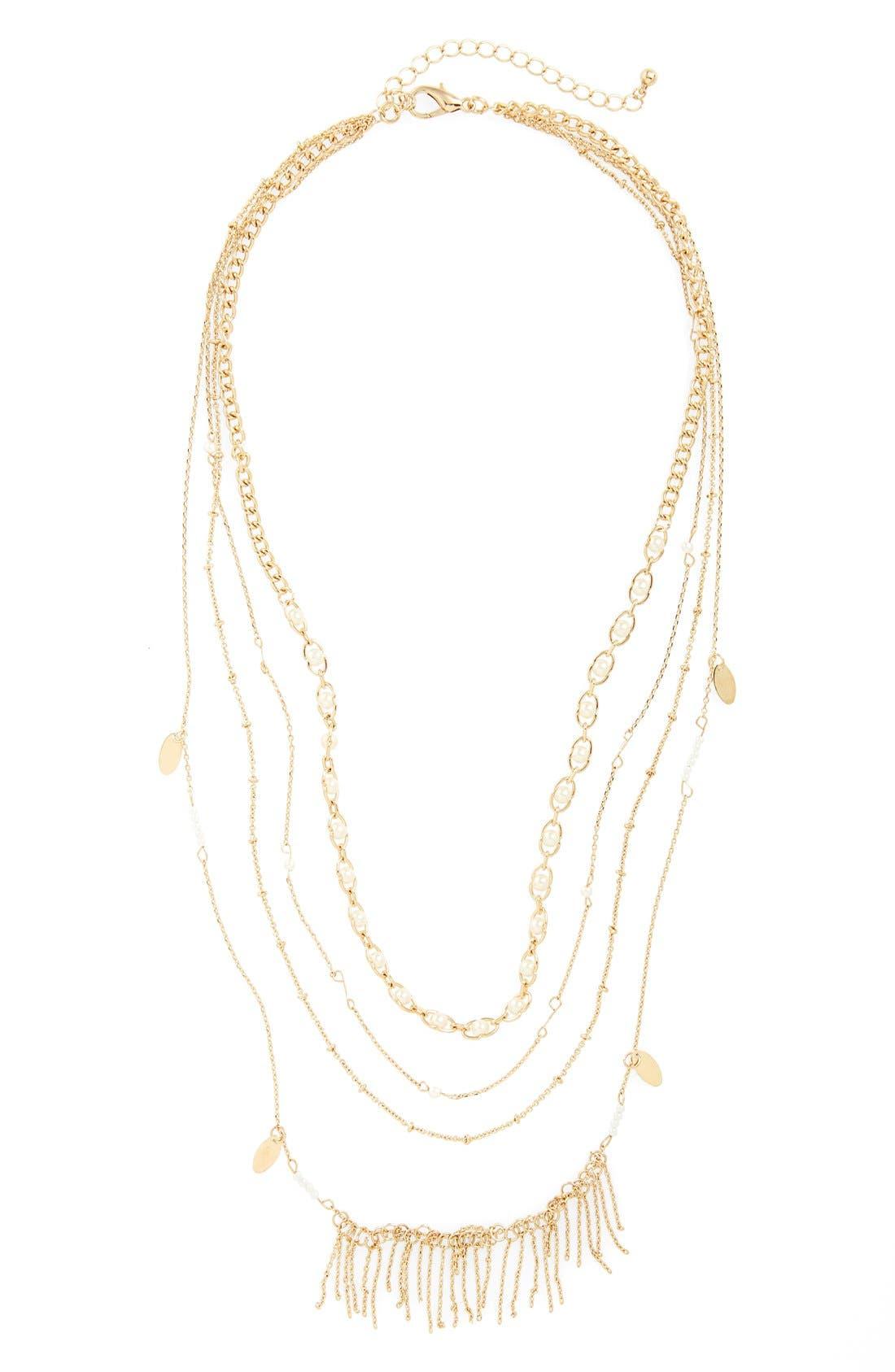 Main Image - Panacea Faux Pearl & Fringe Layered Necklace