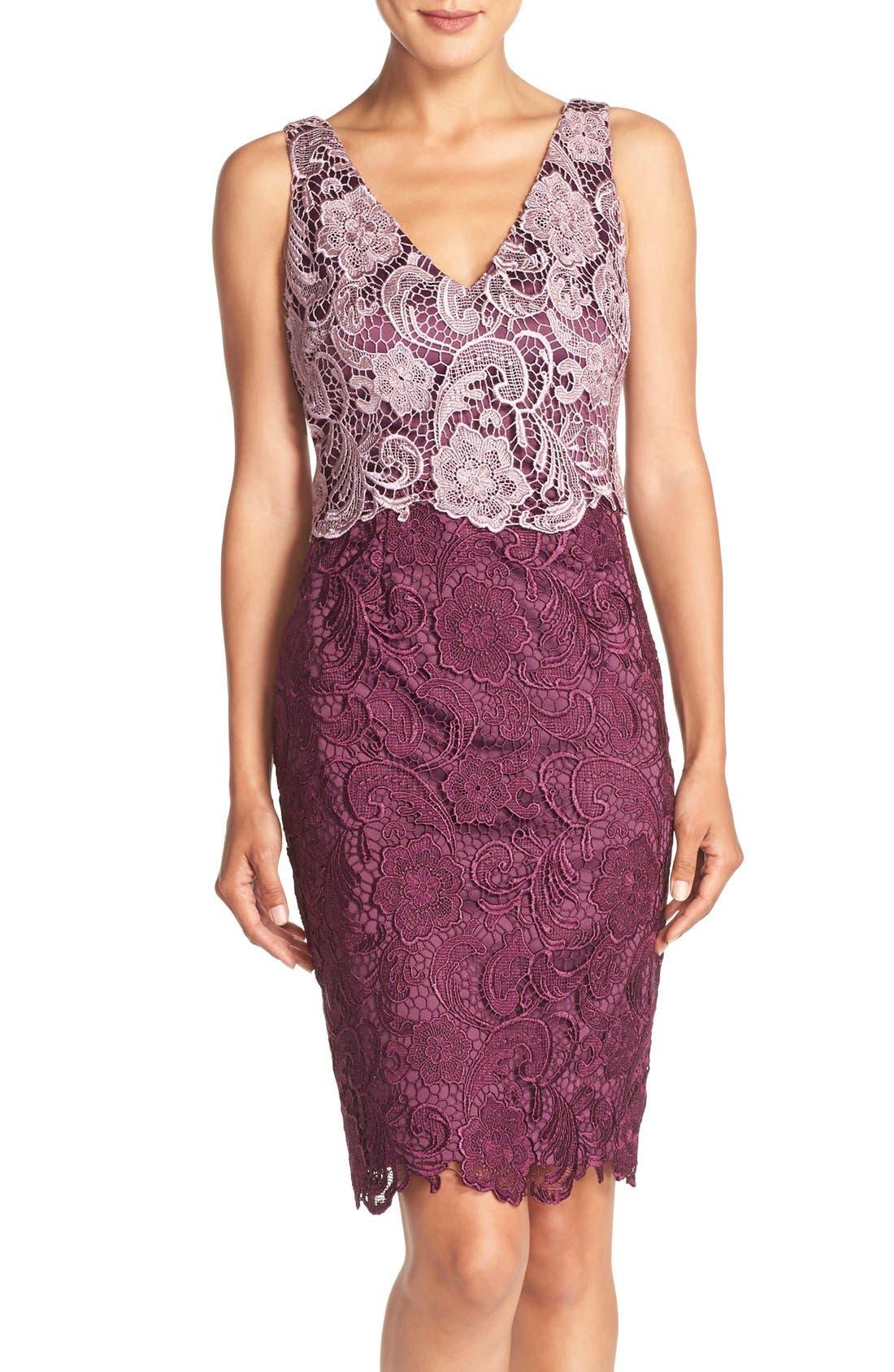 Alternate Image 1 Selected - Adrianna Papell Colorblock Floral Lace Sheath Dress (Regular & Petite)