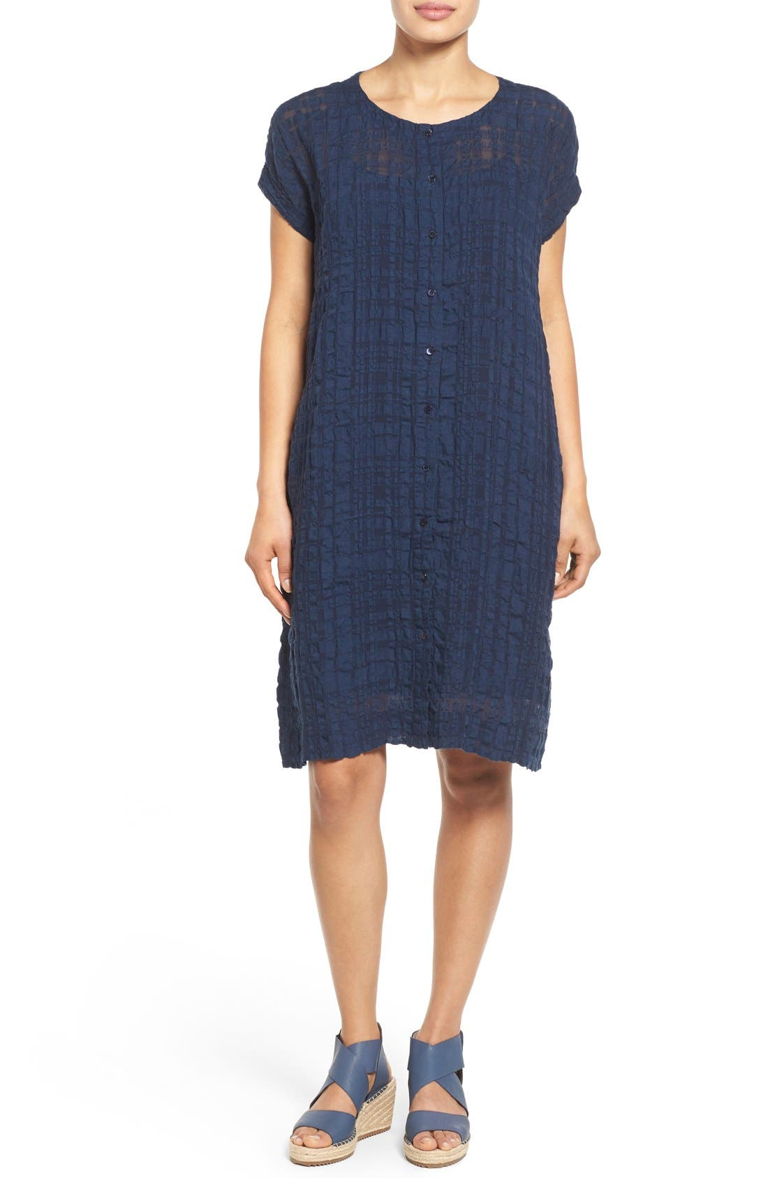 Main Image - Eileen Fisher Button Front Boxy Dress (Regular & Petite)