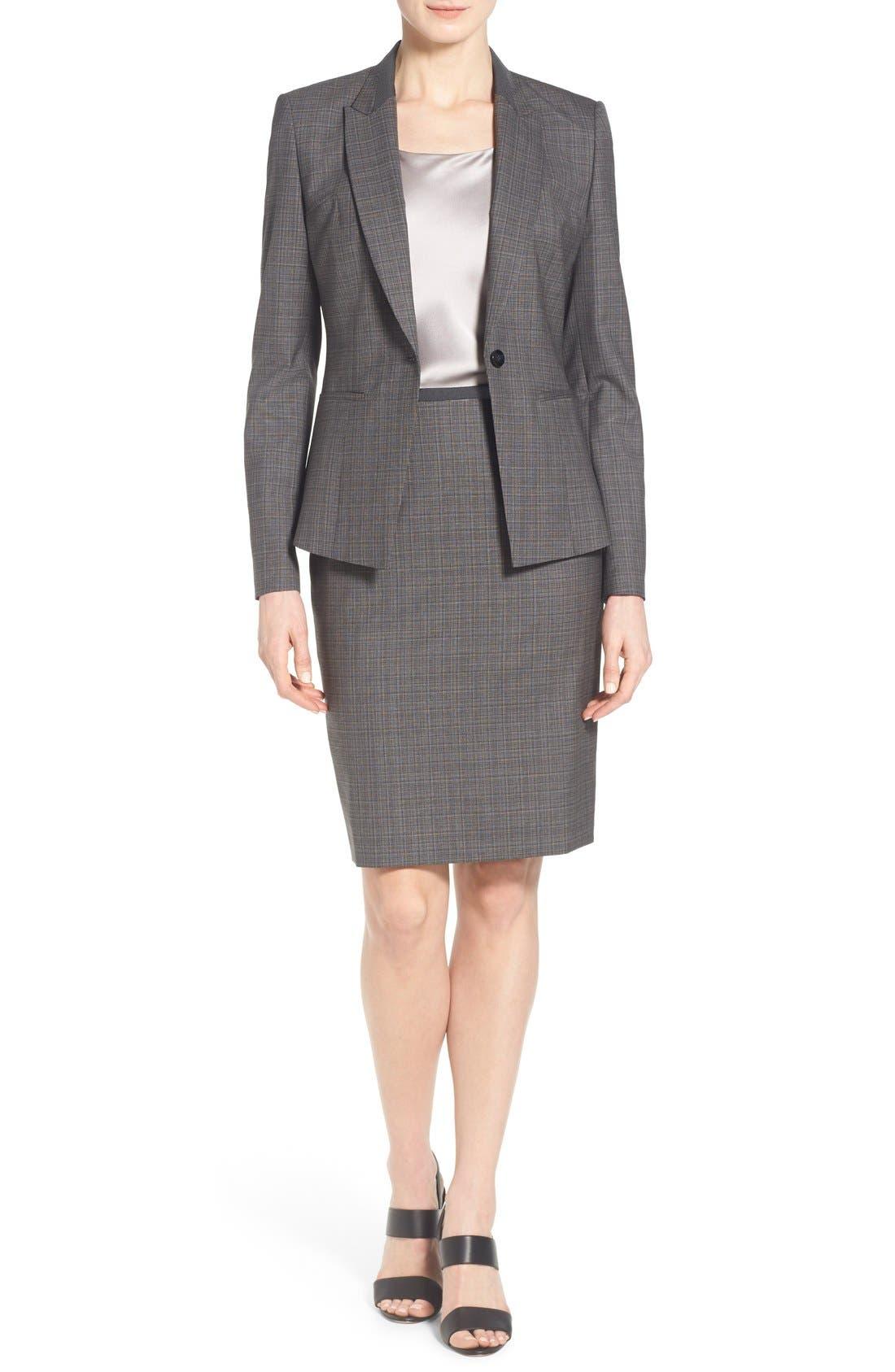 Alternate Image 2  - BOSS 'Vanya' Check Stretch Wool Suit Skirt