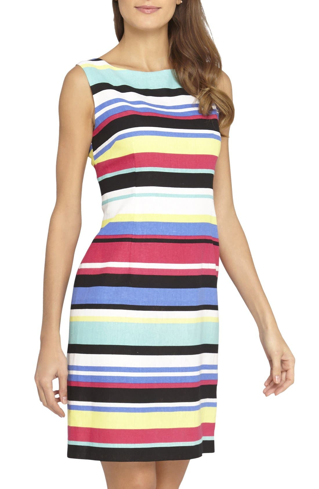 Main Image - Tahari Stripe Linen Blend Sheath Dress (Regular & Petite)