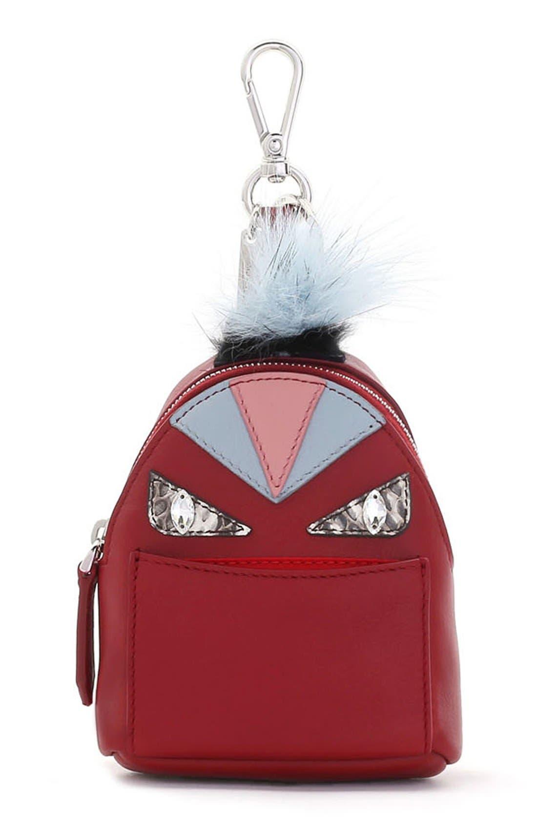 Main Image - Fendi 'Monster' Genuine Fox Fur Trim Backpack Bag Charm