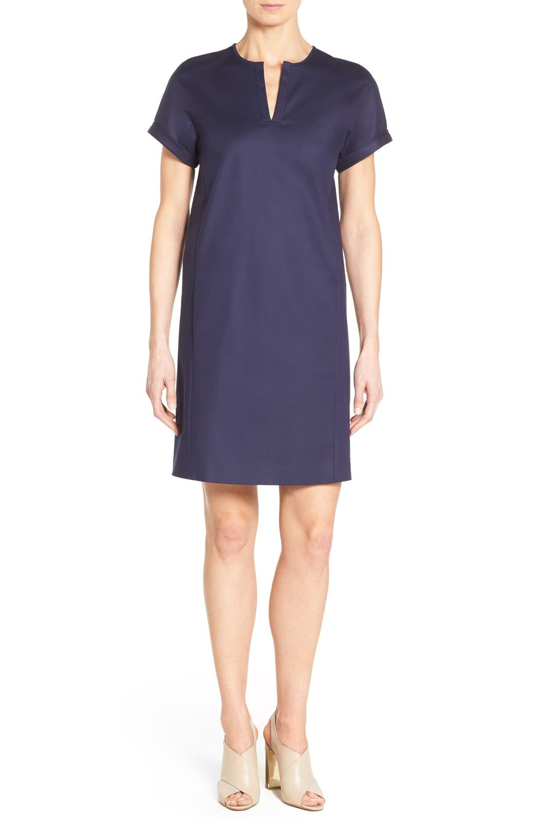 Main Image - Nordstrom Collection Stretch Poplin Shift Dress