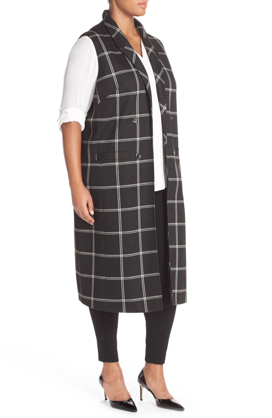 Alternate Image 3  - Halogen® Windowpane Check Long Vest (Plus Size)