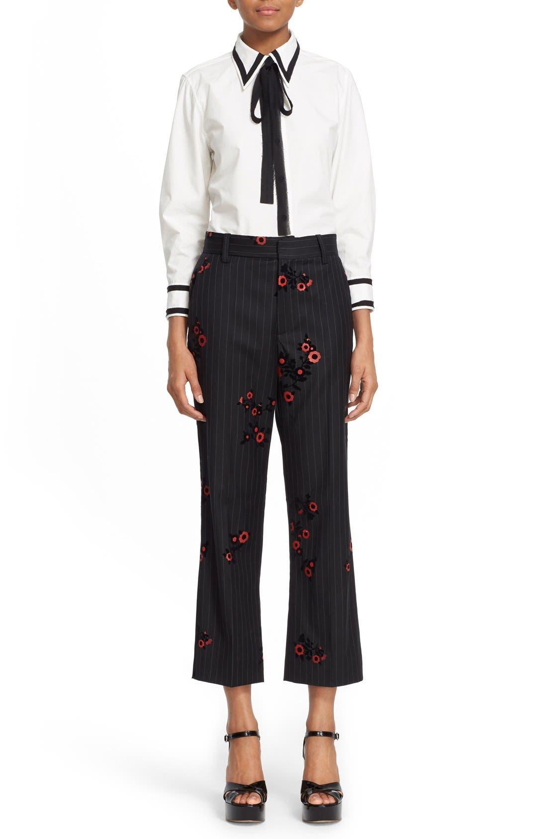 Alternate Image 6  - MARC JACOBS Floral & Pinstripe Crop Flare Wool Pants