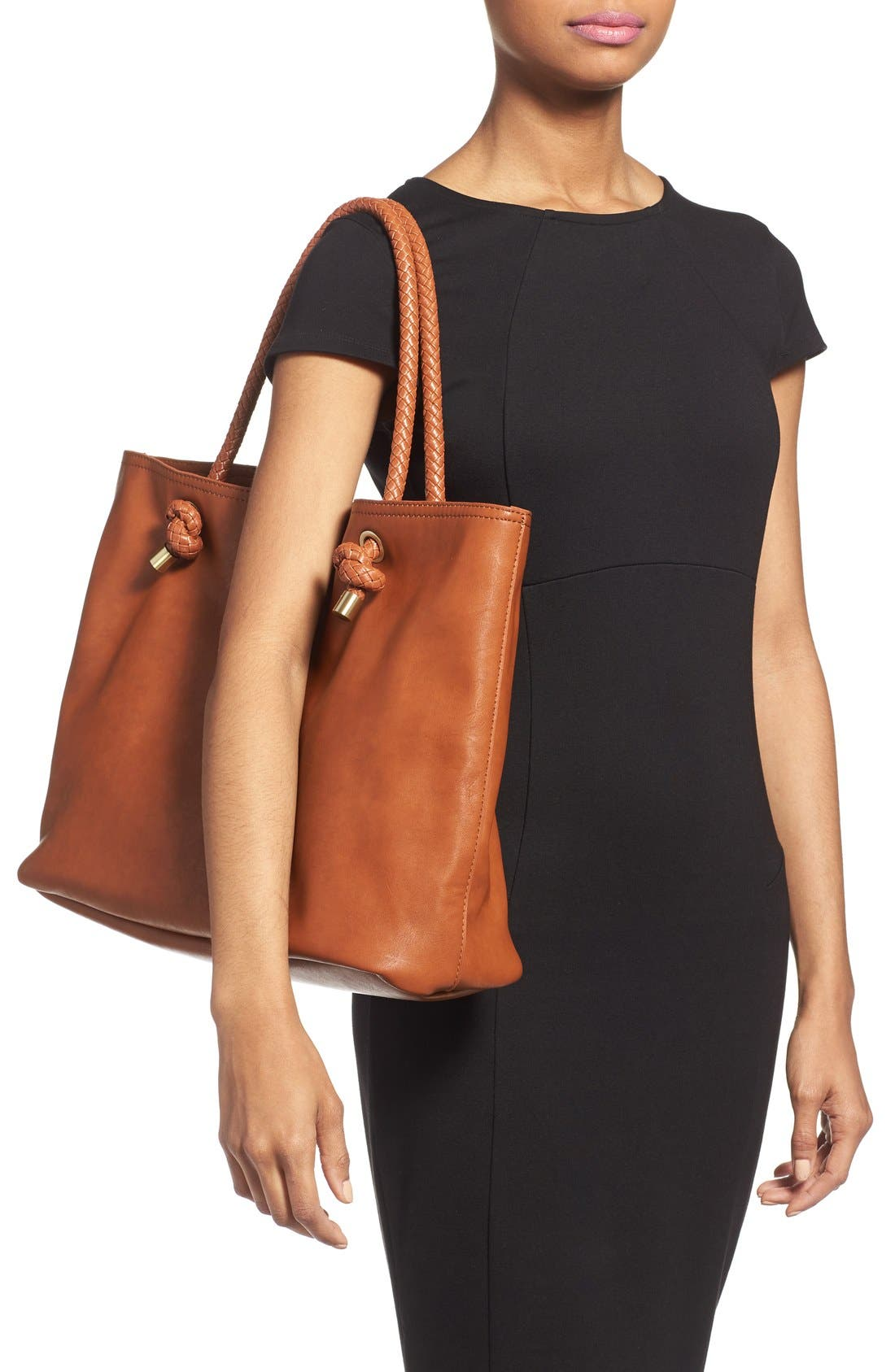 Alternate Image 2  - Sole Society Braided Handle Faux Leather Tote