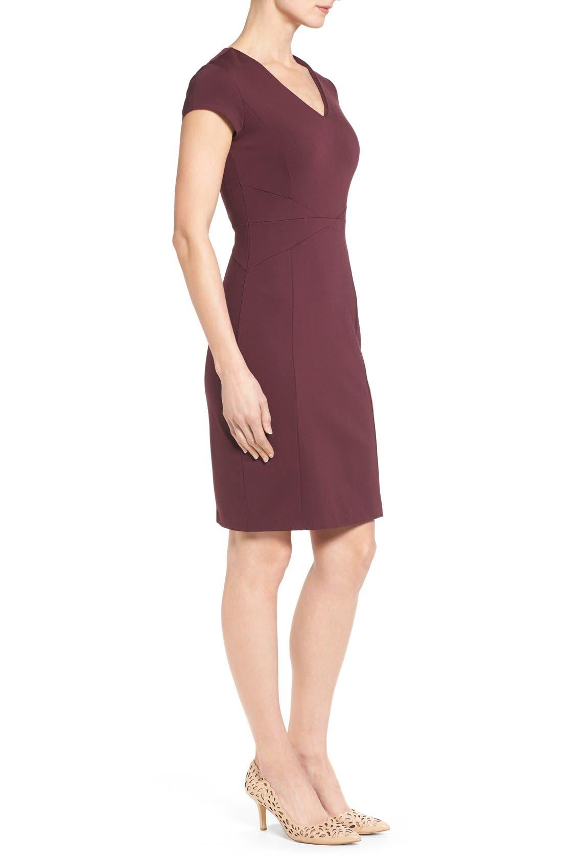 Alternate Image 4  - Halogen® Seamed V-Neck Ponte Sheath Dress (Regular & Petite)