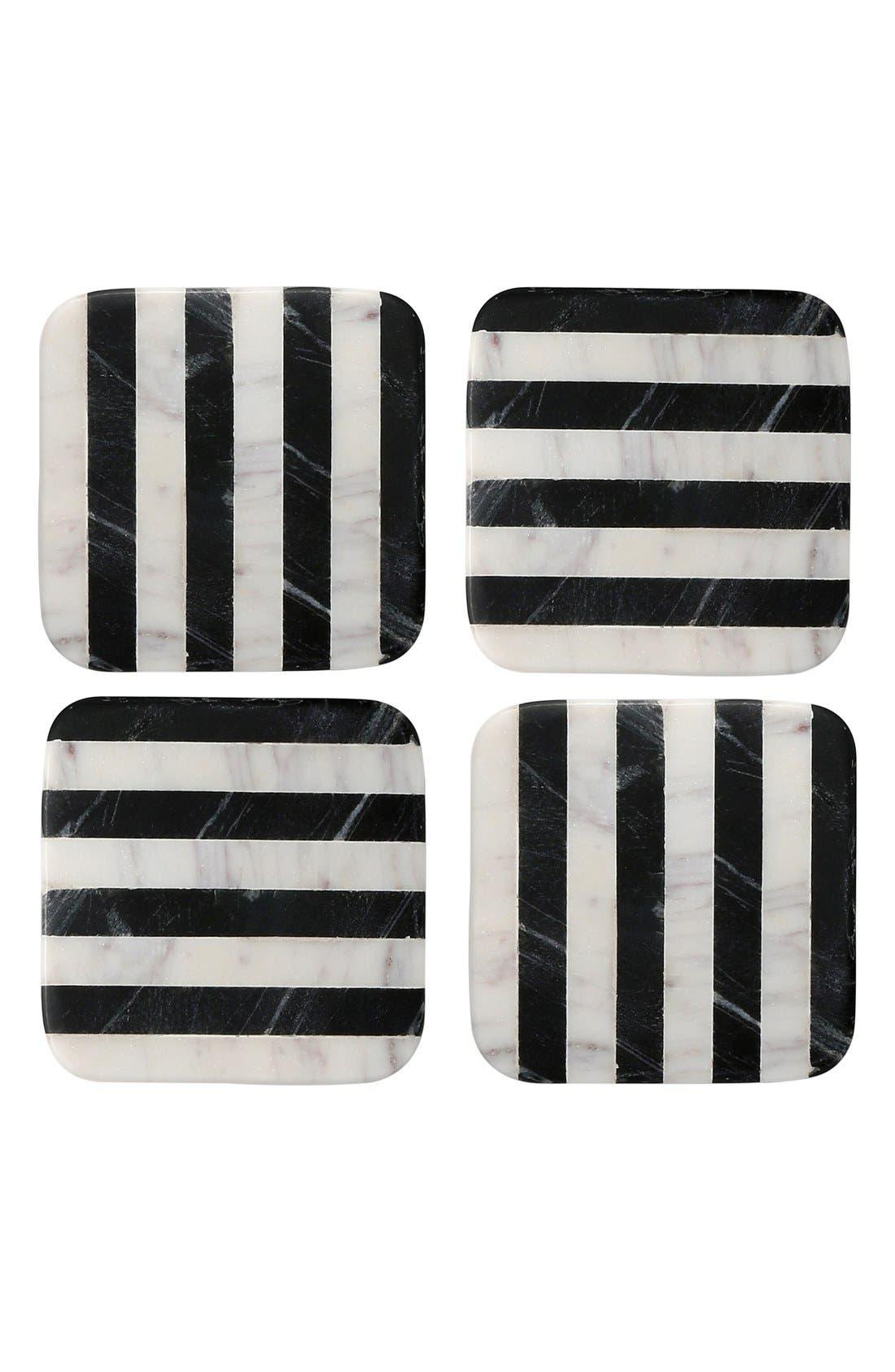 Main Image - Thirstystone Stripe Square Marble Coasters (Set of 4)