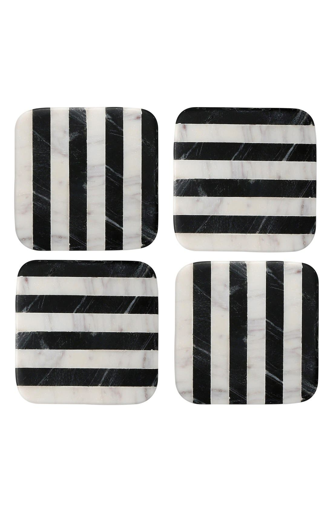 Thirstystone Stripe Square Marble Coasters (Set of 4)