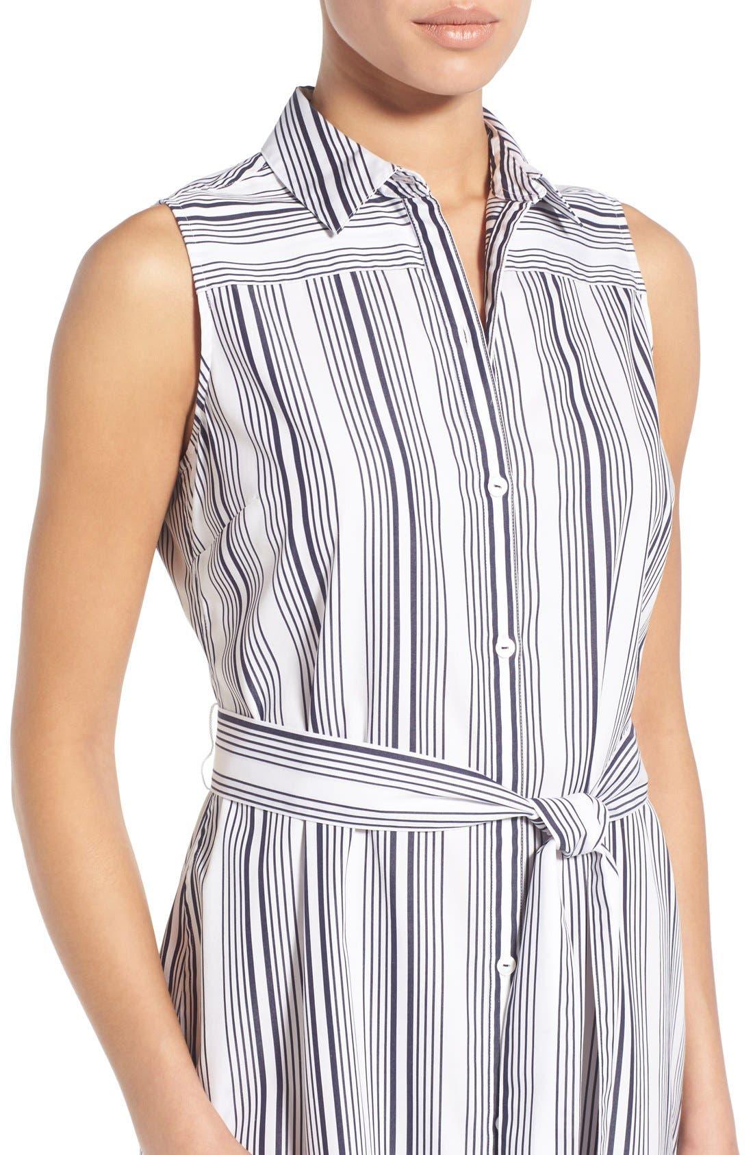 Alternate Image 4  - Foxcroft Stripe Non-Iron Cotton Sleeveless Maxi Shirtdress (Regular & Petite)