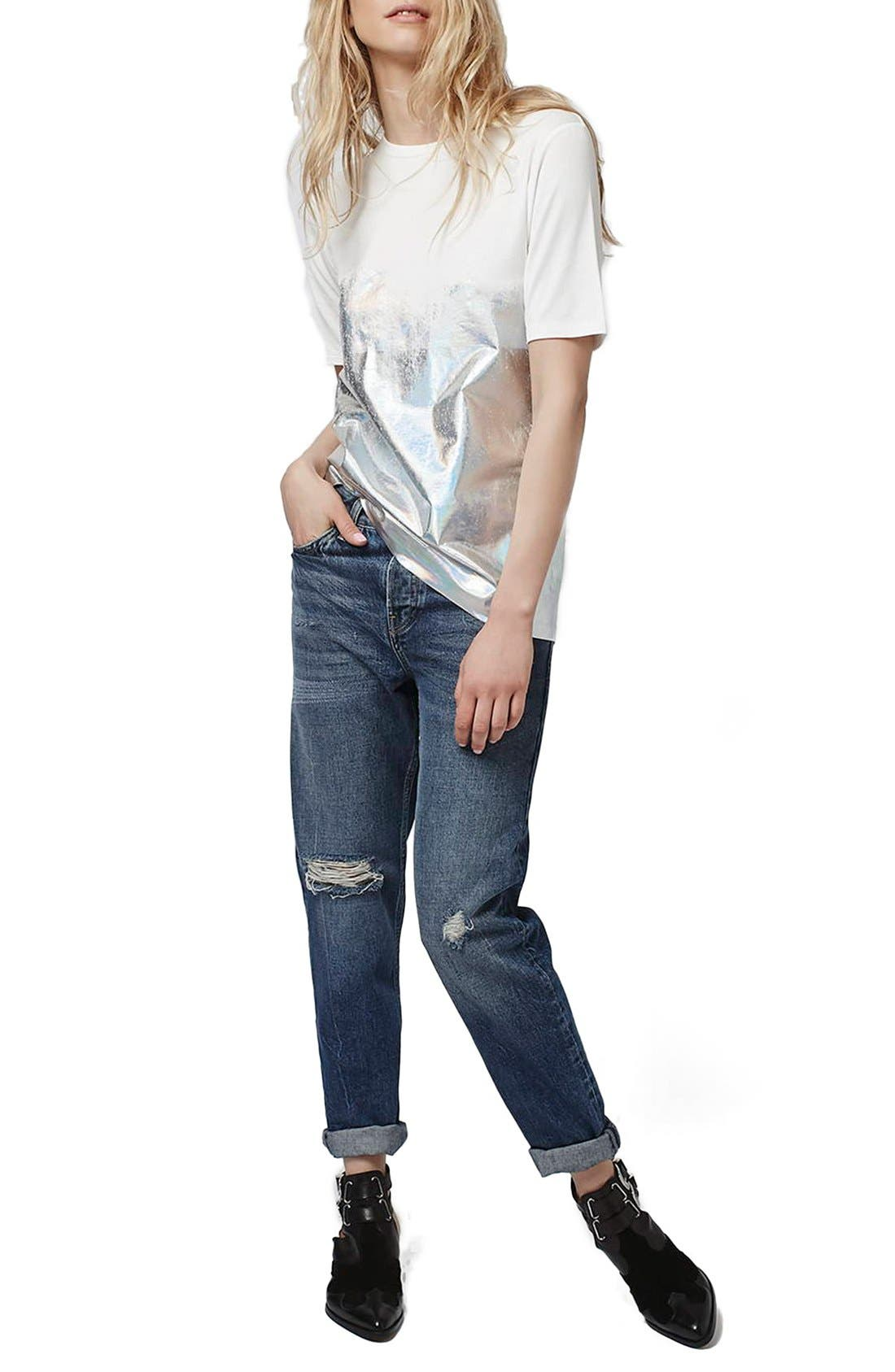 Alternate Image 2  - Topshop Holographic Dipped Oversize Tee