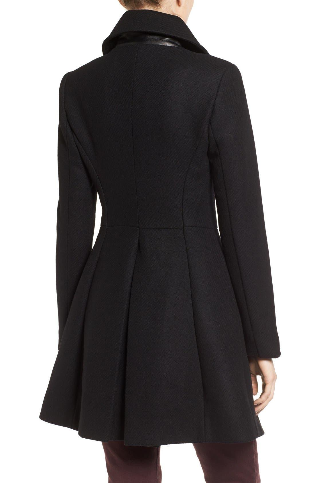 Alternate Image 2  - Trina Turk Wool Blend Military Coat (Regular & Petite)