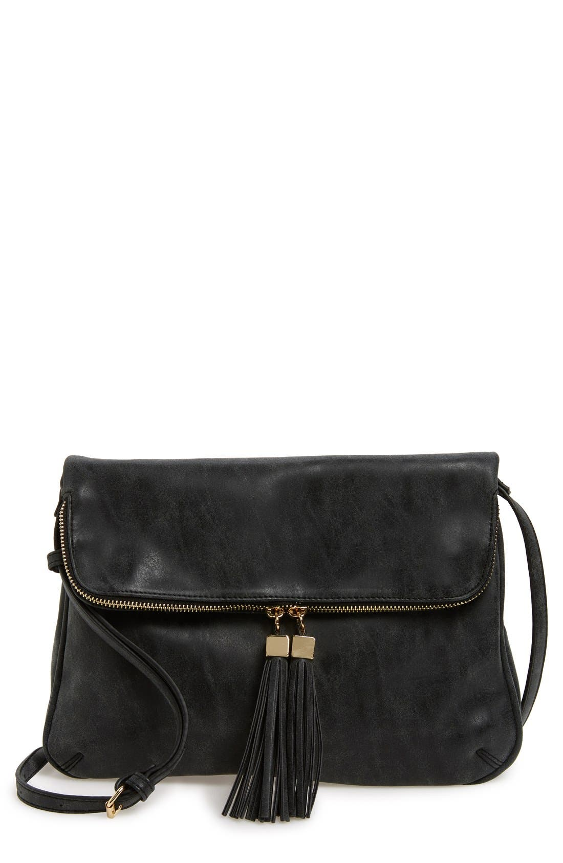Alternate Image 1 Selected - Emperia 'Layla' Faux Leather Tassel Flap Crossbody Bag