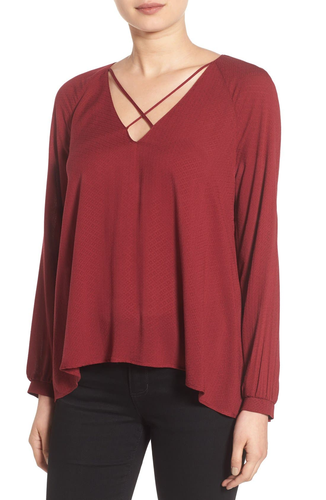 Alternate Image 1 Selected - Lush Strappy Long Sleeve Woven Blouse