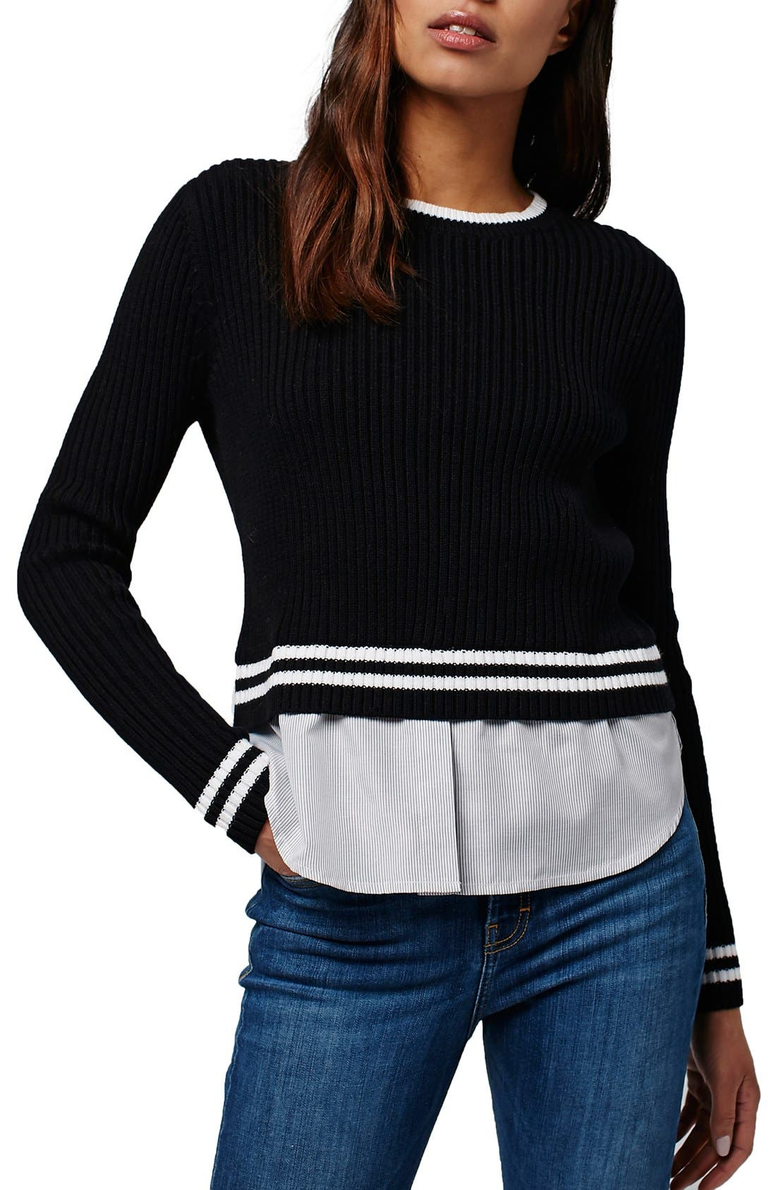 Alternate Image 1 Selected - Topshop Mixed Stripe Layer Top