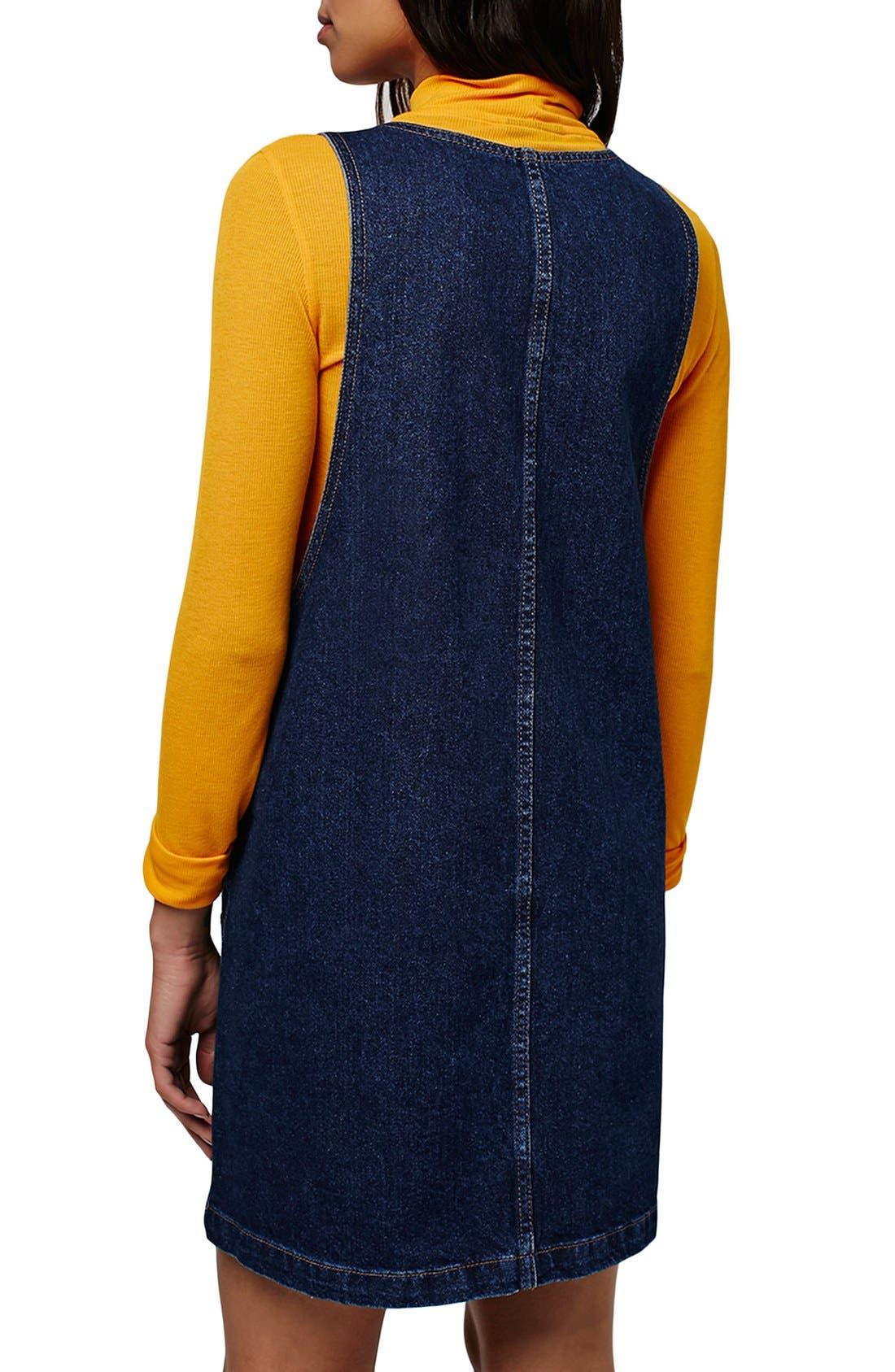 Alternate Image 3  - Topshop Patch Pocket Denim Pinafore Dress