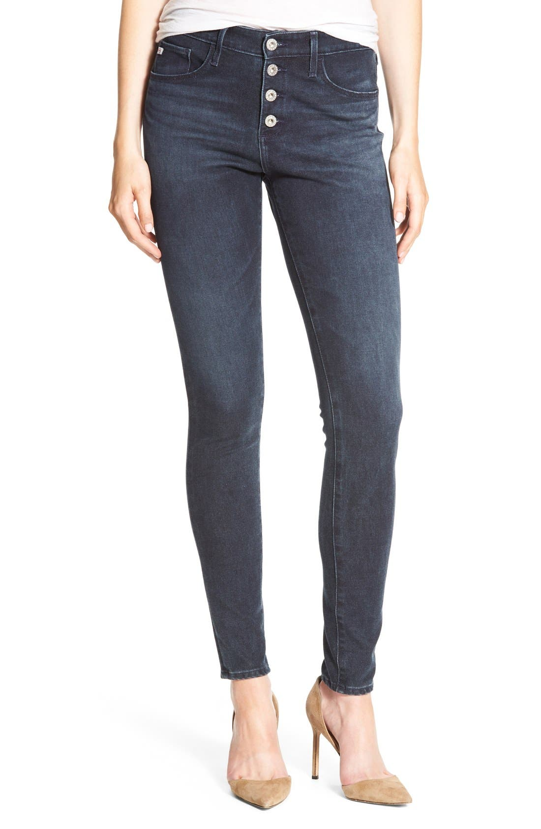 Alternate Image 1 Selected - AG The Farrah High Waist Skinny Jeans (Waterline)