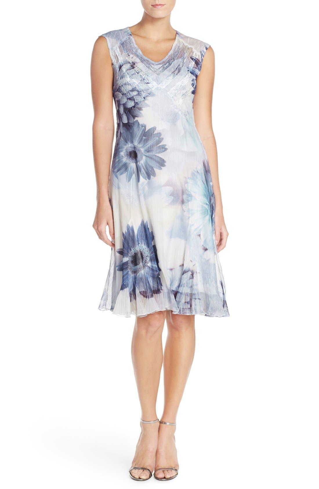 Alternate Image 1 Selected - Komarov Floral Print Chiffon A-Line Dress (Regular & Petite)