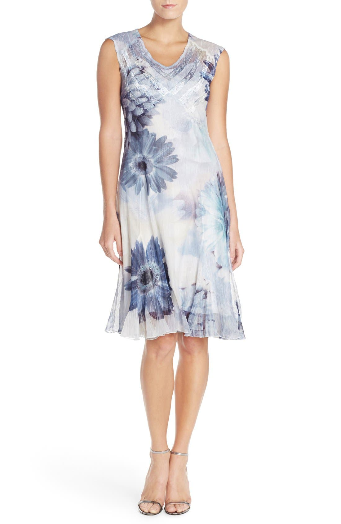 Main Image - Komarov Floral Print Chiffon A-Line Dress (Regular & Petite)
