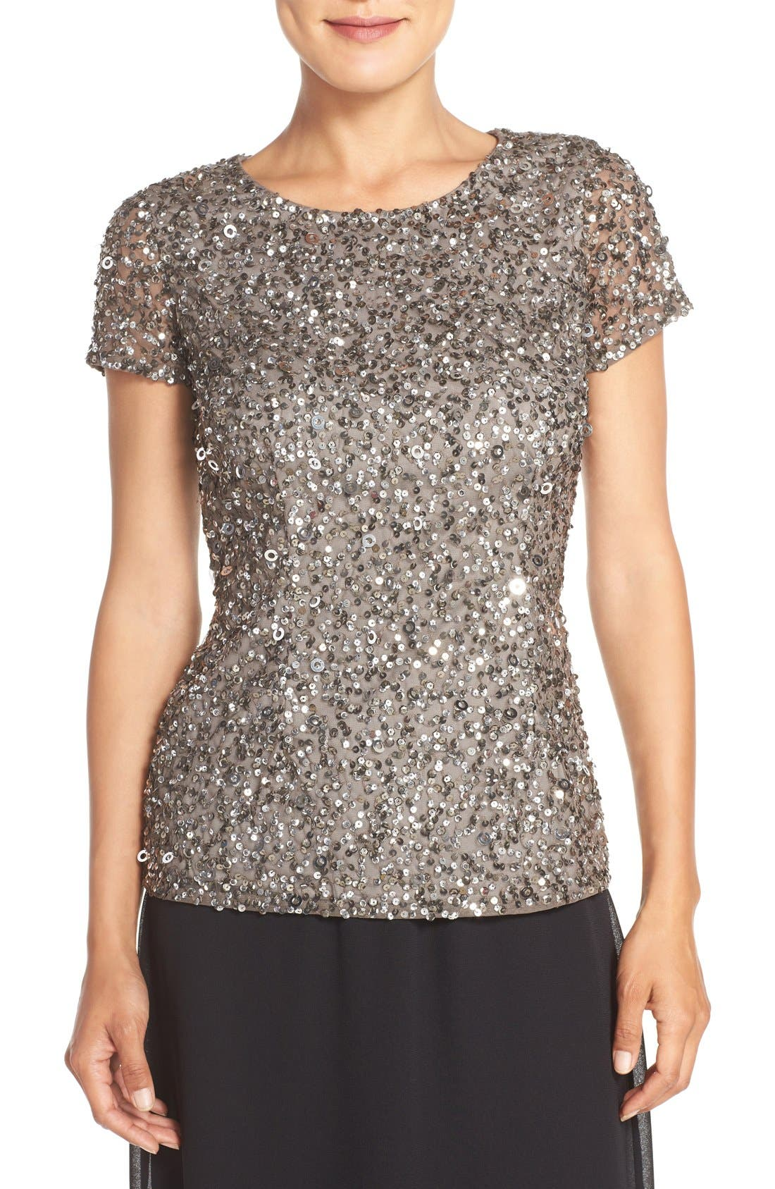 ADRIANNA PAPELL Sequin Mesh Top