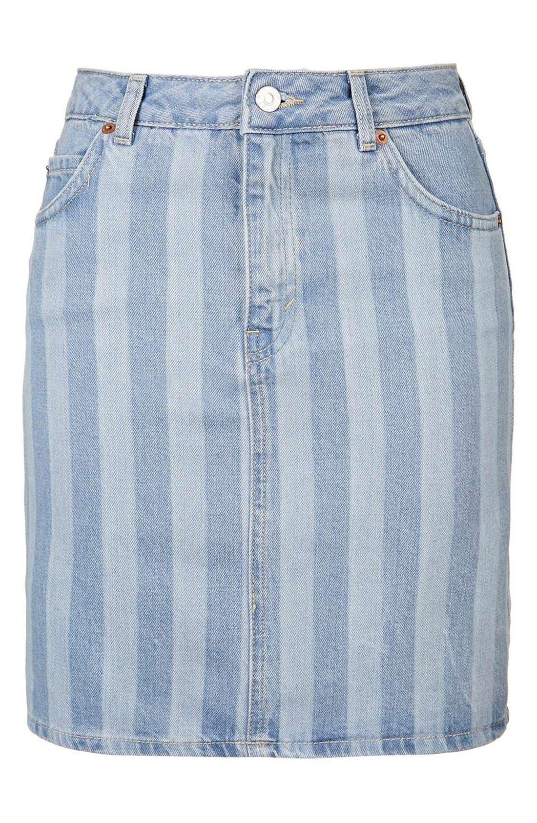 Alternate Image 4  - Topshop Stripe Denim Skirt
