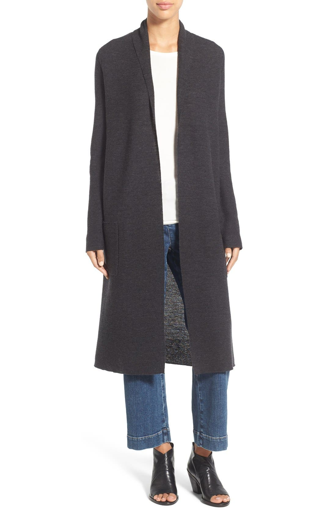 Main Image - Eileen Fisher Ribbed Merino Wool Open Front Long Cardigan
