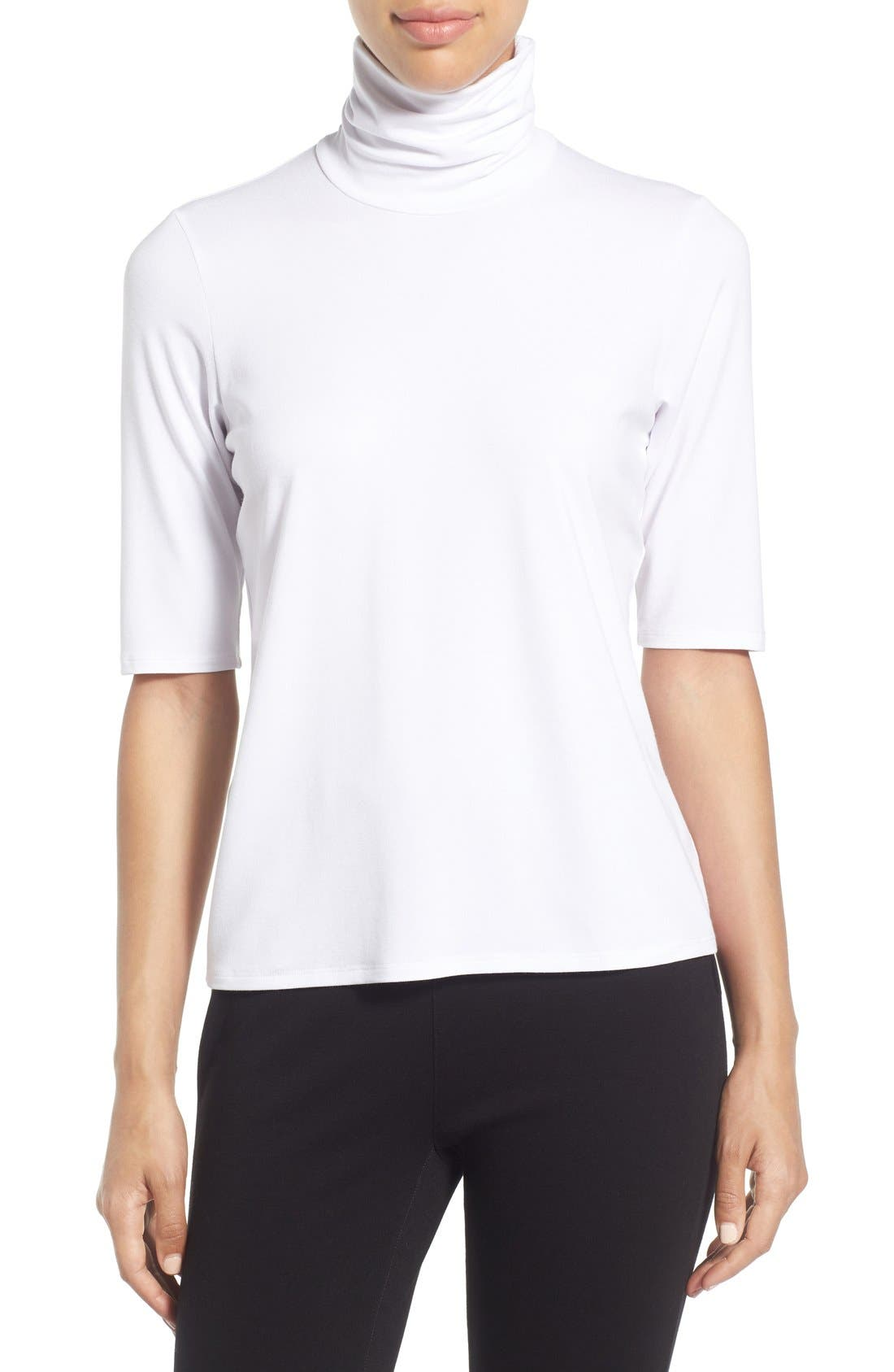 Eileen Fisher Scrunch Neck Jersey Top (Regular & Petite)