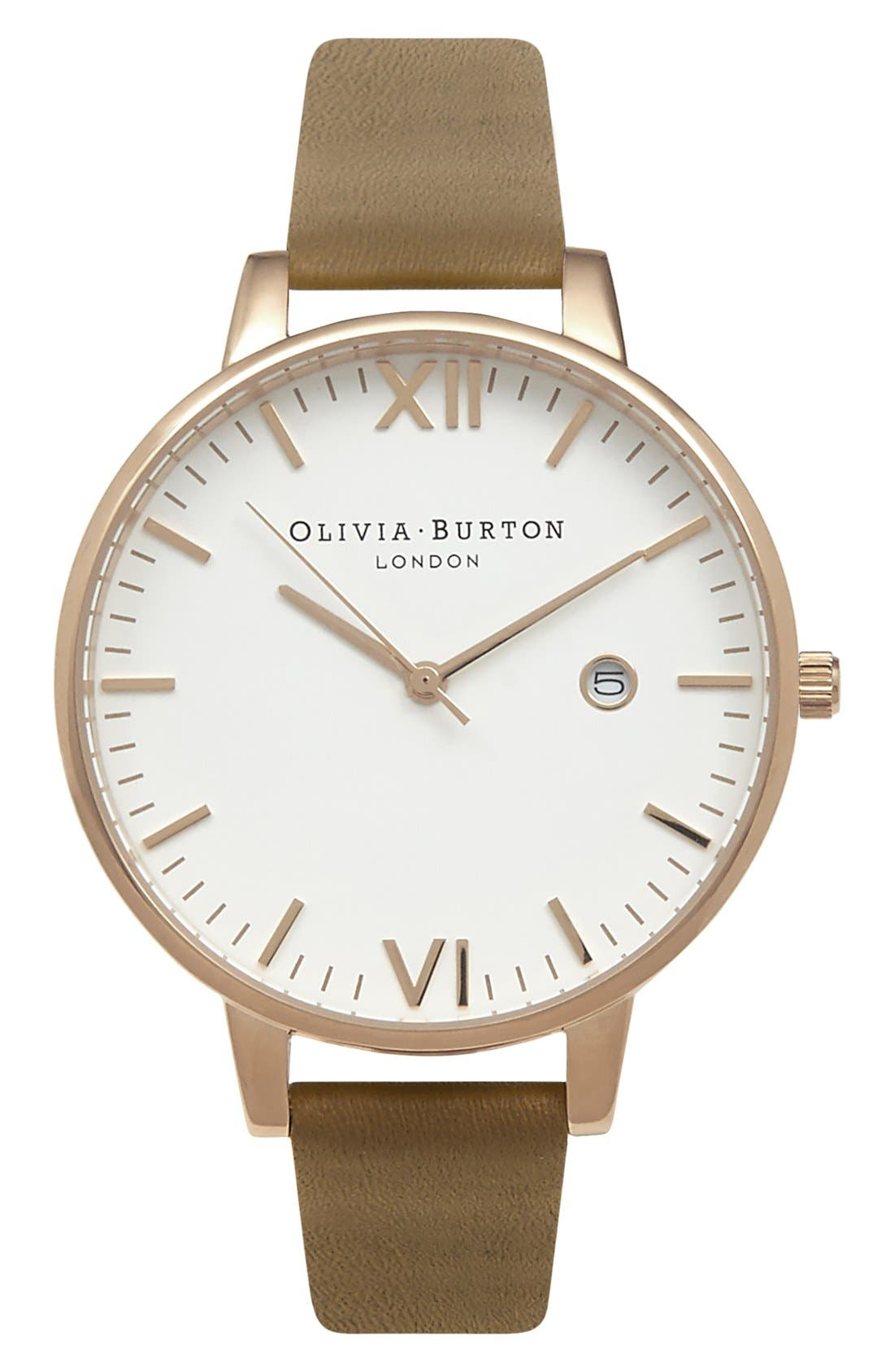 Alternate Image 1 Selected - Olivia Burton 'Timeless' Leather Strap Watch, 38mm