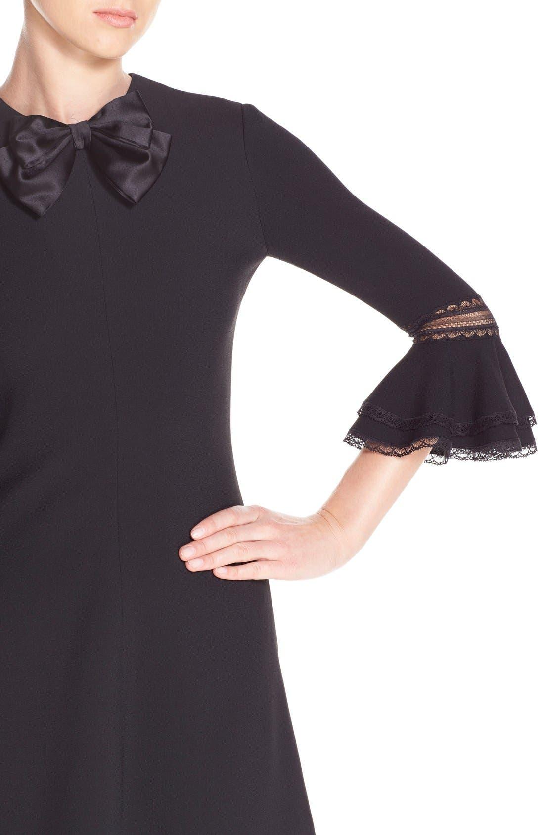 Alternate Image 5  - Saint Laurent Ruffle Trim Crepe Sable Babydoll Dress