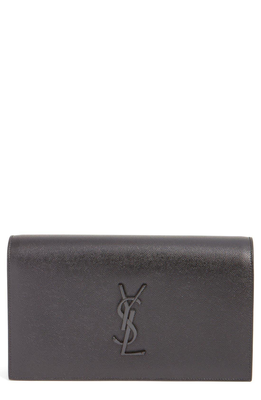 Alternate Image 1 Selected - Saint Laurent 'Kate' Pebbled Calfskin Leather Clutch