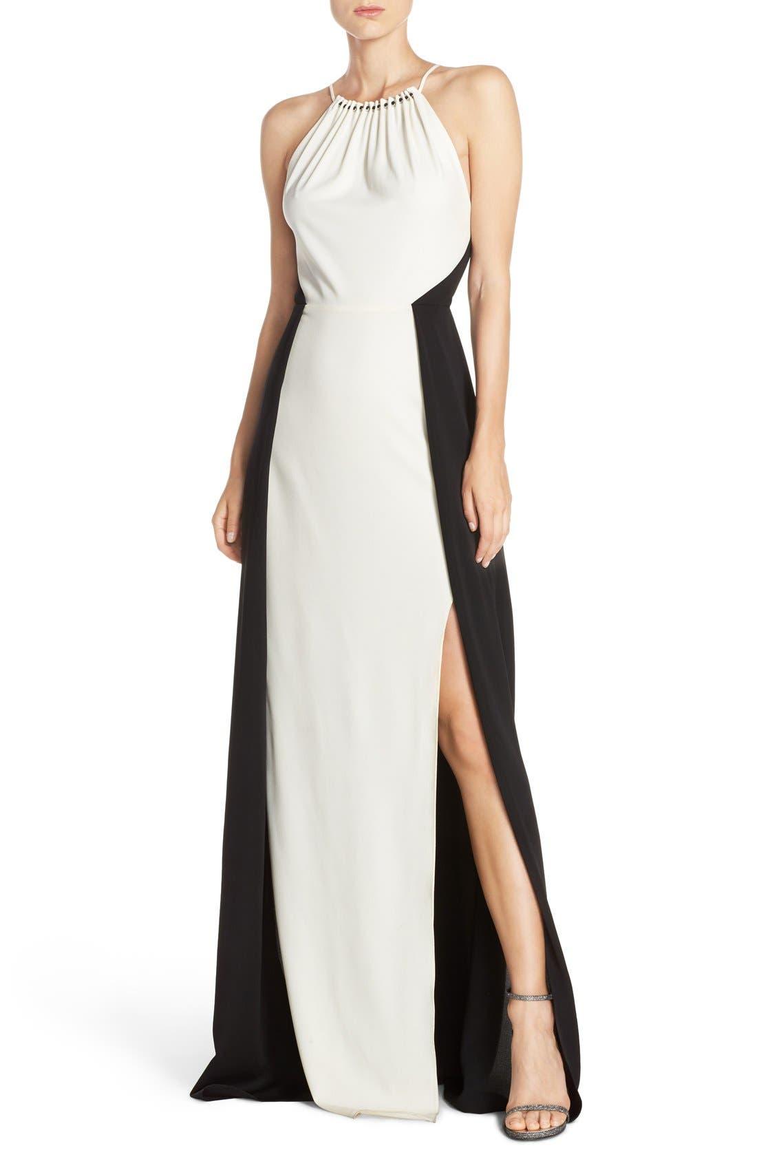 Main Image - Halston Heritage Colorblock Crepe Gown