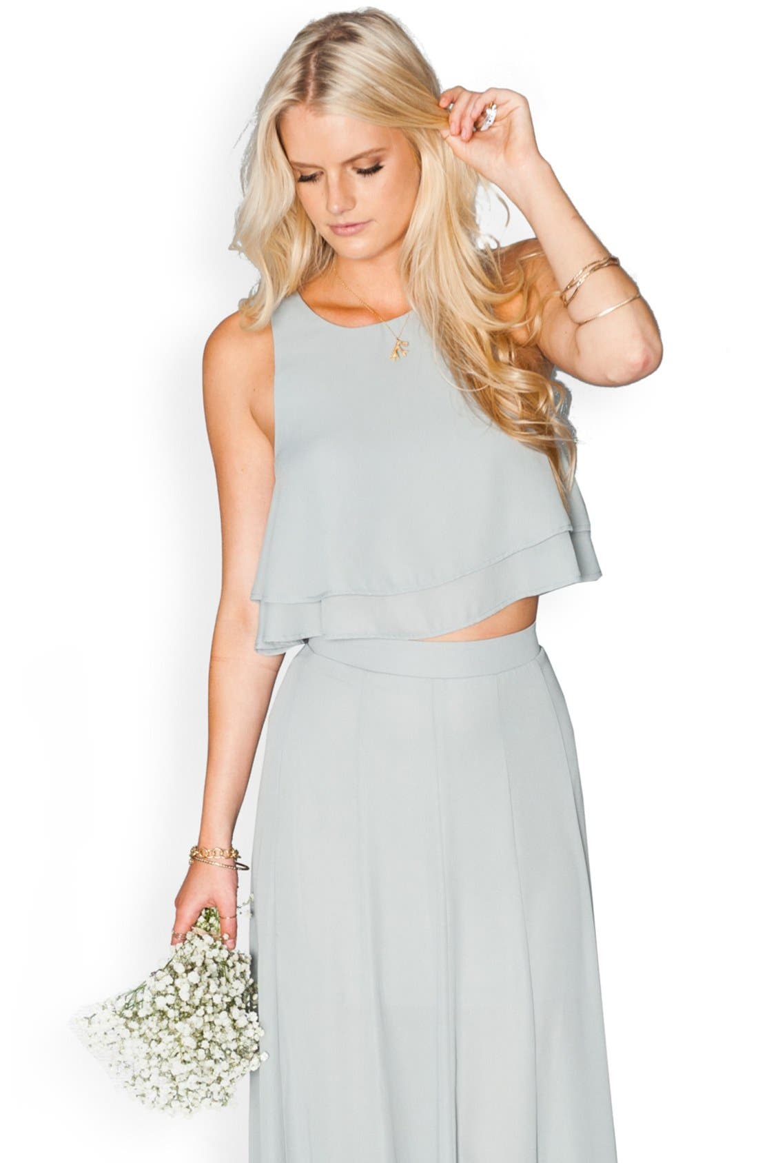 Show Me Your Mumu 'King' Tiered Chiffon Crop Top