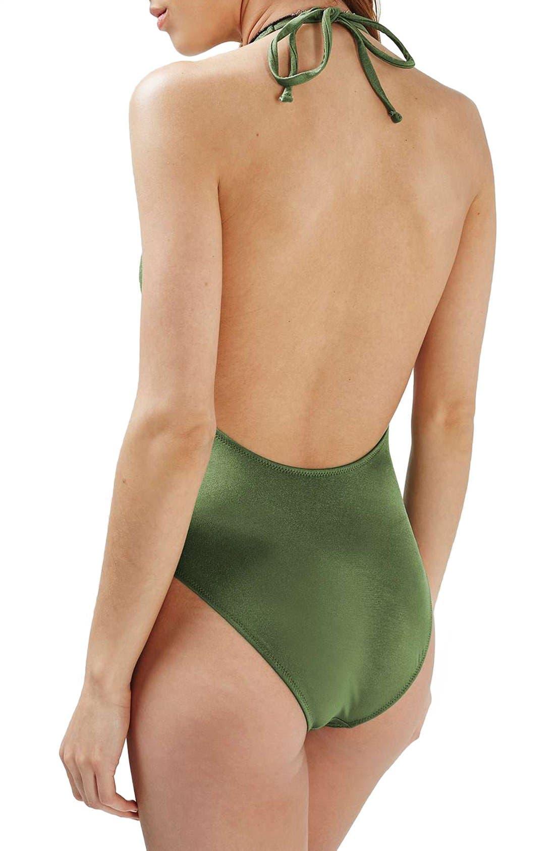 Alternate Image 2  - Topshop Lattice Front Halter One-Piece Swimsuit