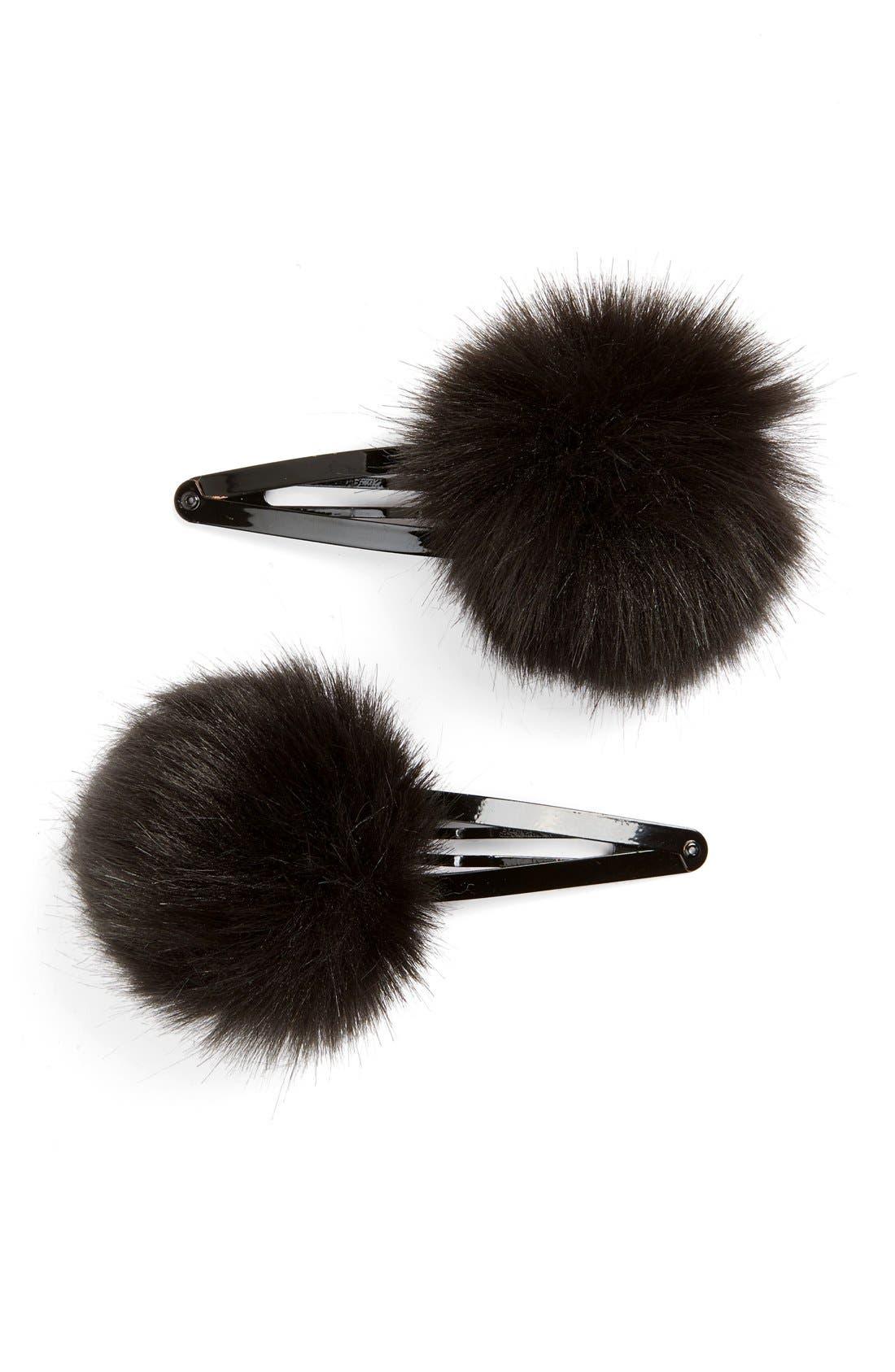 Main Image - Topshop Fluffy Hair Clips