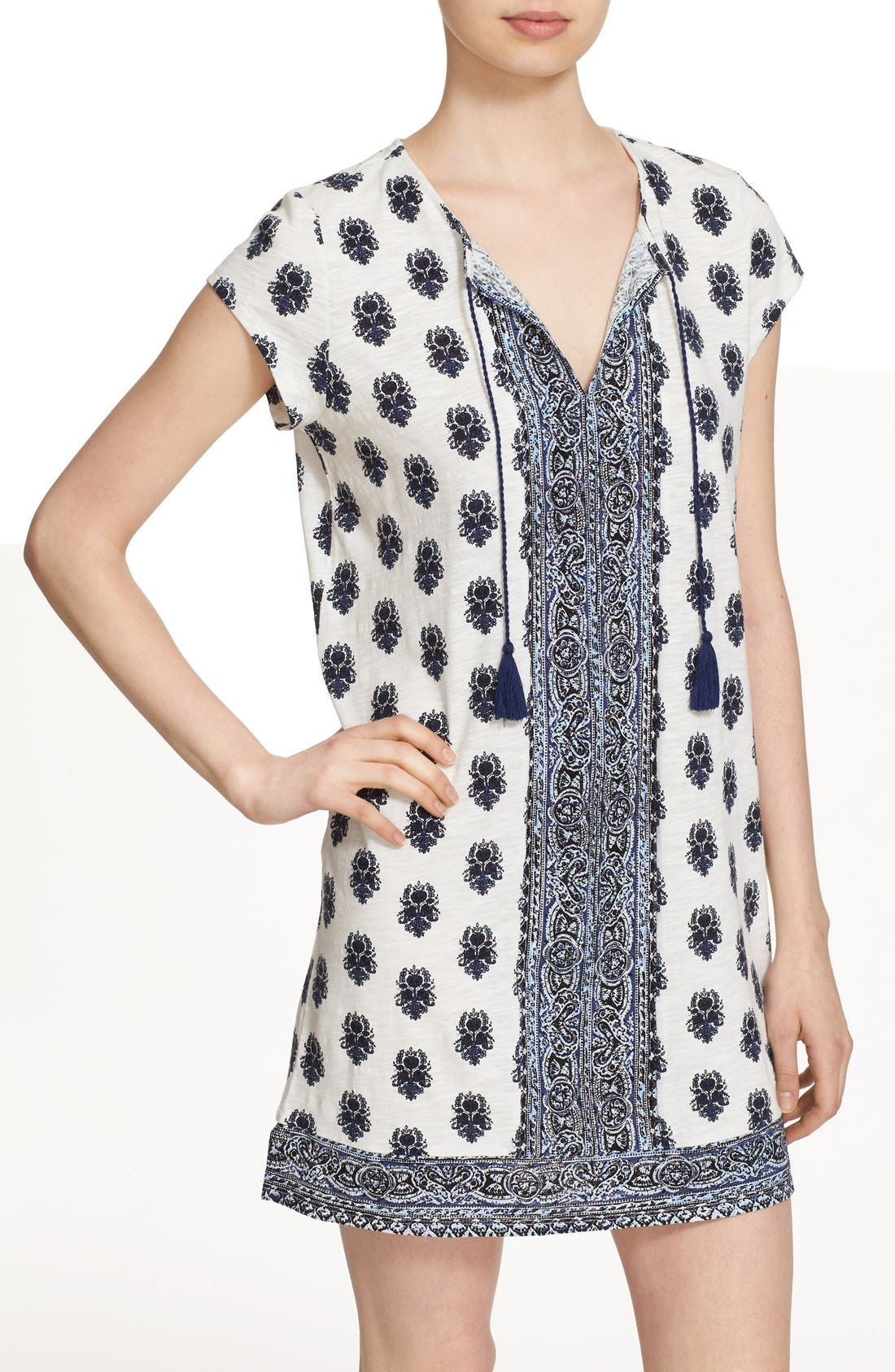 Alternate Image 4  - Soft Joie 'Gadhi' Border Print Split Neck Shift Dress