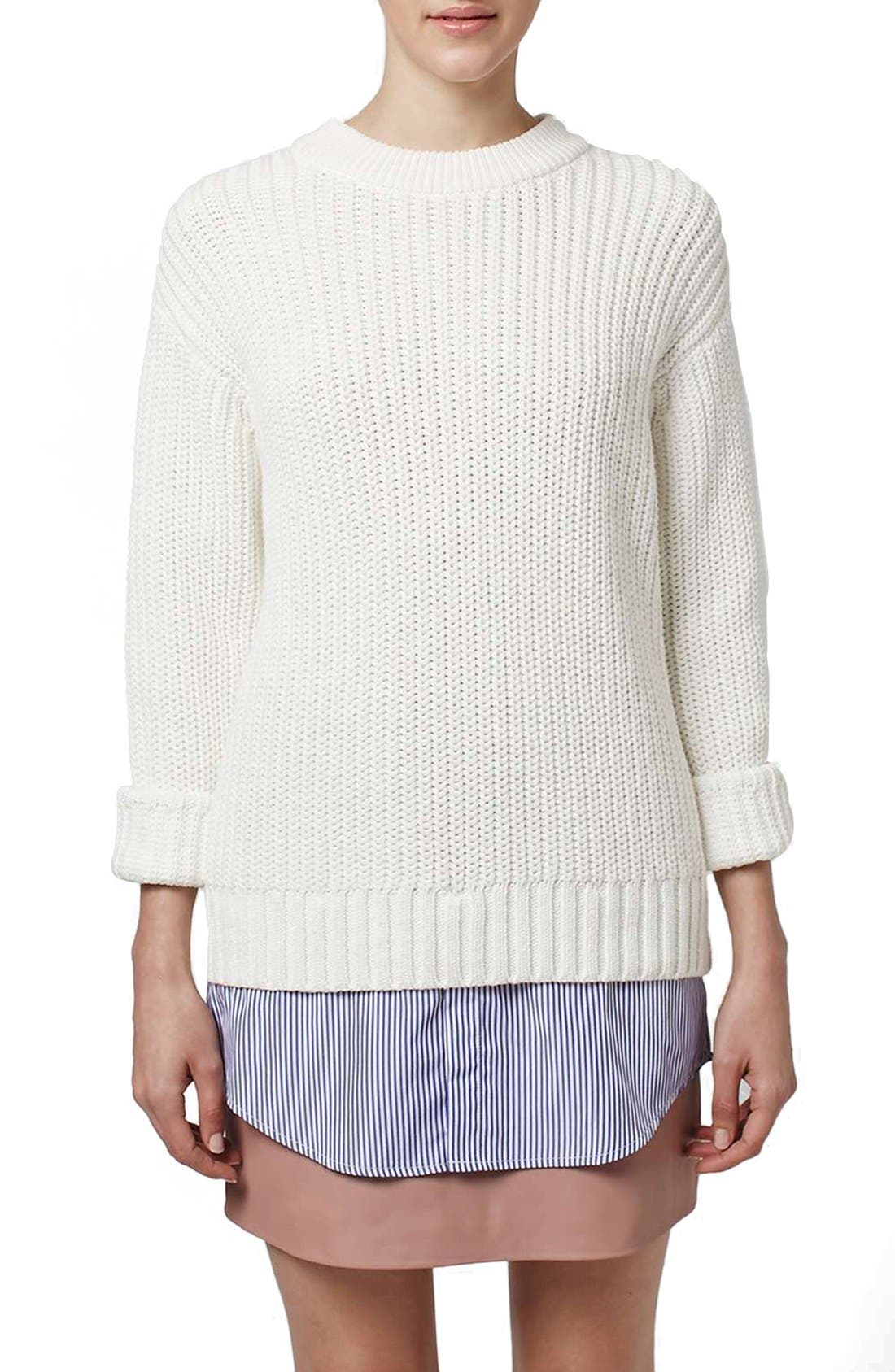 Alternate Image 1 Selected - Topshop Boutique Shirttail Hem Ribbed Sweater